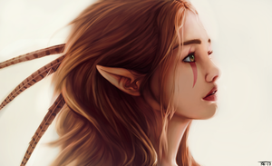 Green eyed elf by trinemusen1