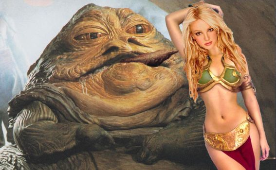 Britney Spears As Slave Leia (With Jabba) by RoyPrince