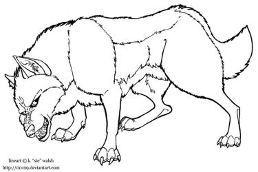 Free Wolf Growling Lineart Template by forumroleplay