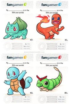 Bulbasaur, Charmander, Squirtle, and Caterpie by gummibaehr
