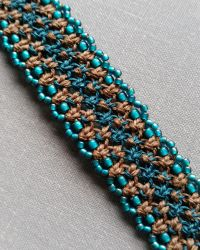 Brown and Teal Hemp Bracelet Cuff by silhouettes-spirits
