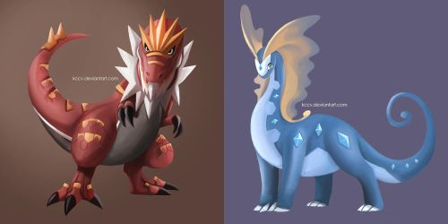 Tyrantrum and Aurorus by kccv