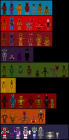 FNaF 1-6 Atari Stylized Sprite Sheet by BlackiieProductions