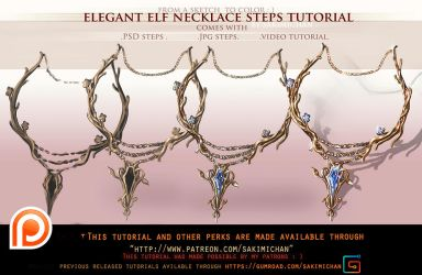 Elegant Elf Necklace Tutorial Pack Promo by sakimichan