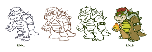 Re-Drawing Bowser by fryguy64