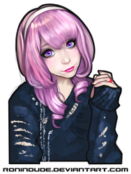 Evening Sketch - Purple haired Girl by RoninDude