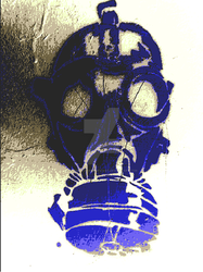 Purple graffitti gasmask by SauronTheMagnificant