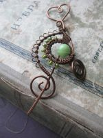 Wire Wrapped Shawl Pin with onyx by Lirimaer86