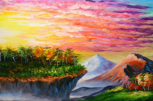 How to paint sunset, cliff, trees, and mountains by beejay-artlife12