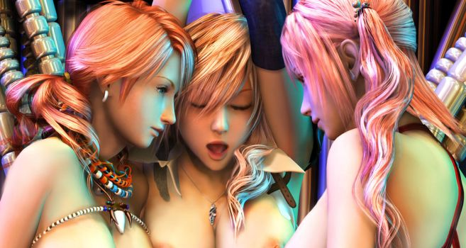 Vanille, Lightning, Serah Cropped by 3dbabes