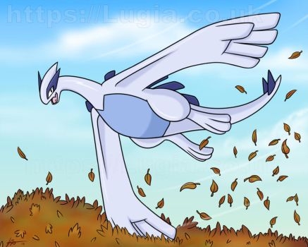 Lugia Playing in Autumn Leaves by TheSkyTempleOfficial