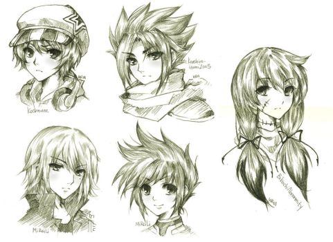 headshot commission batch 1 by urusai-baka