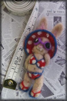 Sunny Bunny Needle Felted Brooch by Unfairytales