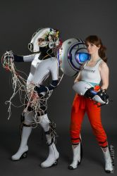 GLaDOS and Chell by AGflower