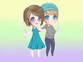 Commission- Chibi Couple for uraqt314 by Xukia