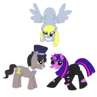 Dr. Whooves, Derpy, and Commander Twilight by AskSock-N-Socks
