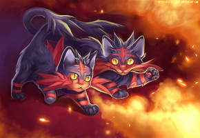 Sun and Moon starters: Litten by Static-ghost