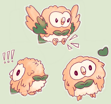 (Stickers + More!) Fluffy Rowlet Pattern by CassowaryRoom