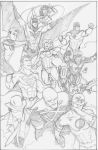 Justice League pencils by CrimeRoyale