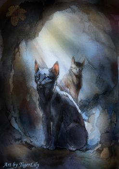 Dovewing and Bramblestar in tunnel (watercolor) by Flame-of-inspiration