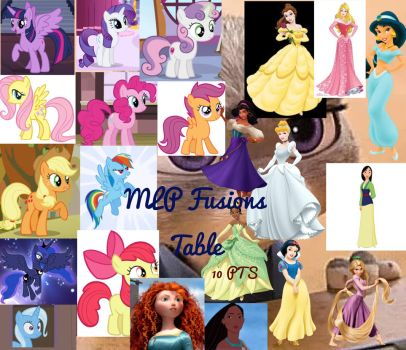 Disney and MLP fusions table 1 (OPEN) by sarymarie