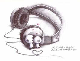 Pandas and Headphones by an0nym0use99