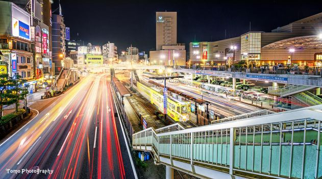 Night shot in front of Nagasaki Station by WindyLife