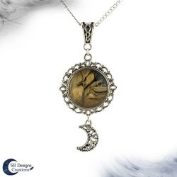 Crescent moon necklace Fantasy witch jewelry by Nyjama