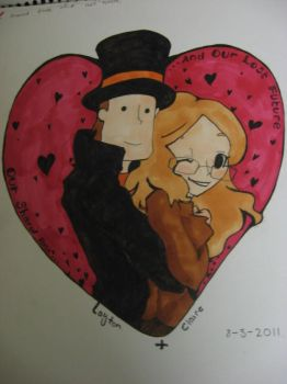 Professor Layton and Claire by Cant-Draw26