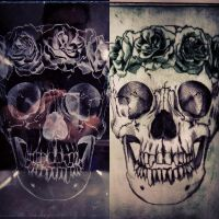 Printmaking-  Skull with flower crown by NatalieBorg