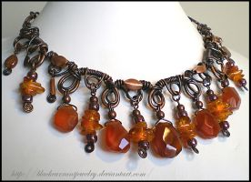 Amber and Agate Necklace by blackcurrantjewelry