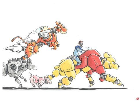 Christopher Robin and his 100AKR Mechs by CWingSyun