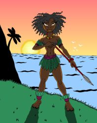 African Hula Girl at Sunset by JonKin