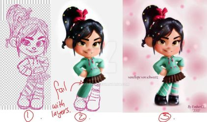 RE-UPLOAD 2013 Vanellope WIP2 by EmberCL