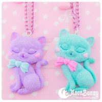 Ice cream kitten (mint and violet) Necklace by CuteMoonbunny