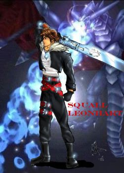 Squall and bahamut by SquallLeonhart245