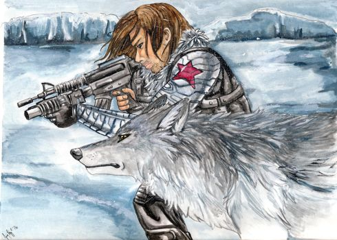 Winter Soldier and Wolf by arania