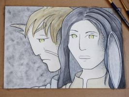 WIP: Elaishar and Halaina, Grisaille + Color by Hestia-Edwards