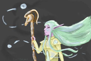 Night Elf Druid Digital Art - Request/Present by Cirprius