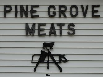 PINE GROVE MEATS sign, Ogdensburg WI 8/8/15 4:51 by Crigger