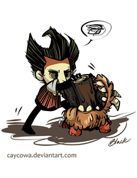 Don't Starve - Wilson ''feeding'' Chester by caycowa