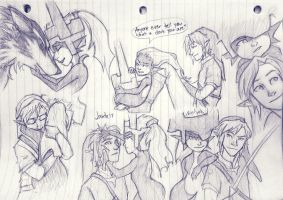 Link and Midna sketches by Jaide15
