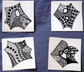 4 small zentangles by mintdawn