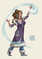 Sara as a Waterbender by Kiyae
