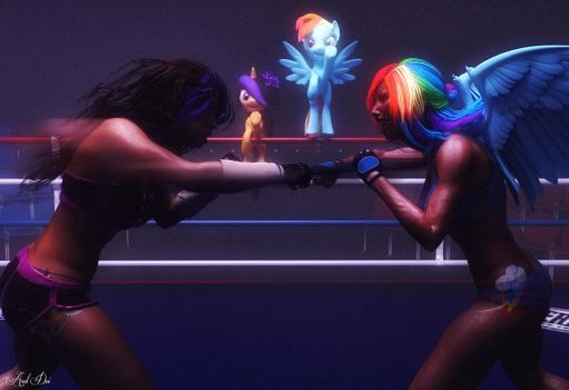 Maya and Rainbow Dash (Sparring Match Trainning) by Axel-Doi