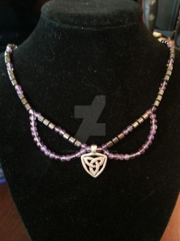 Triquetra Hematite and Amethyst Necklace by TheCraftyMaiden