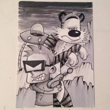 Inktober: Spaceman Spiff and Hobbes by johnnyism