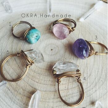 Okra Raw Stone Rings by SquirrelzUpcycling