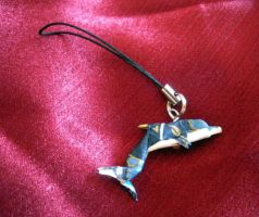 Origami Dolphin Phone Charm by squeejie