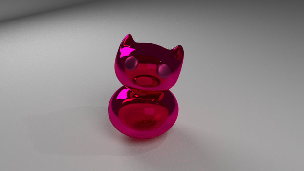 3D Pink glass cat by MasterPinpey